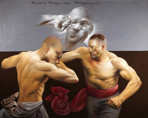 Володимир Костирко. Торріджано ламає носа Мікеланжело, 2012, полотно, олія