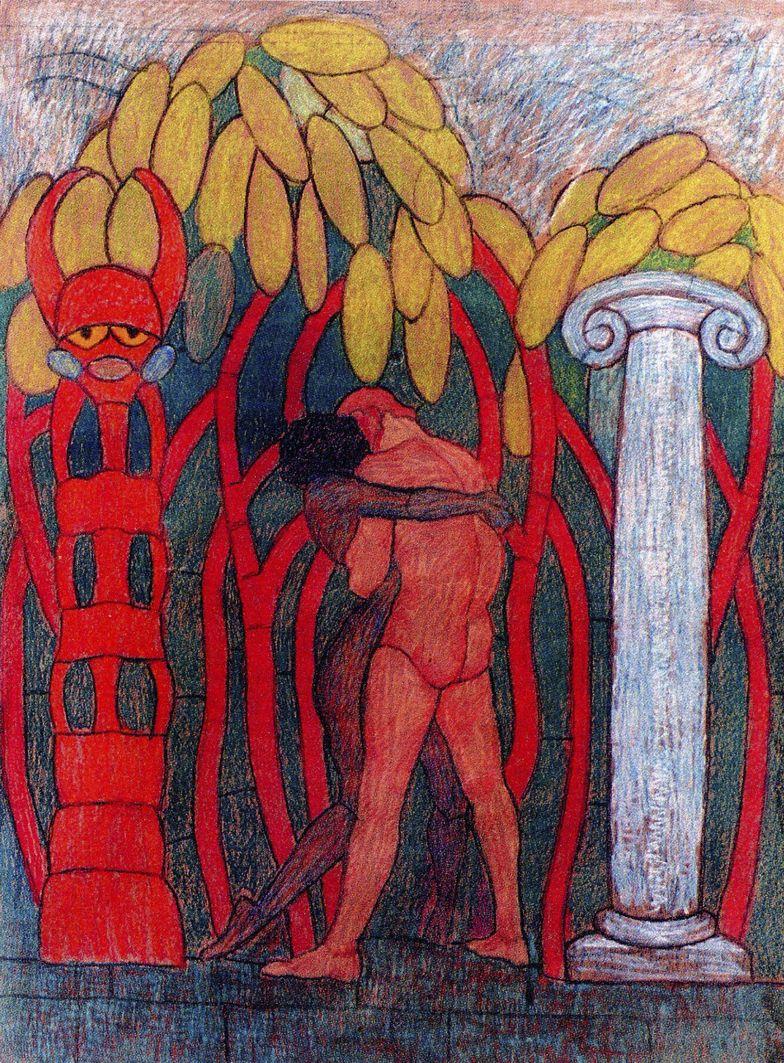 Мар'ян Ольшевський. Проект вітражу «Світанок нових часів», 1910-і; папір, крейда; ЛНГМ