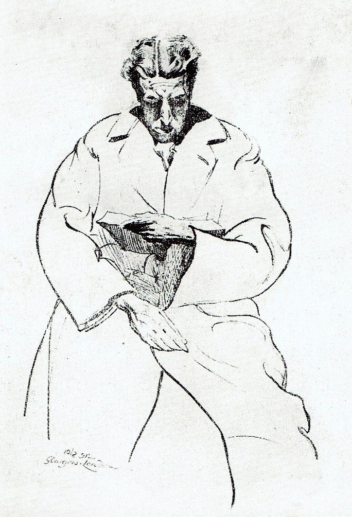 Мар'ян Ольшевський. За читанням, літографія