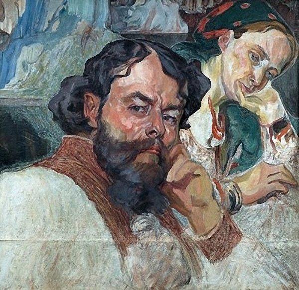 Олекса Новаківський. Автопортрет з дружиною