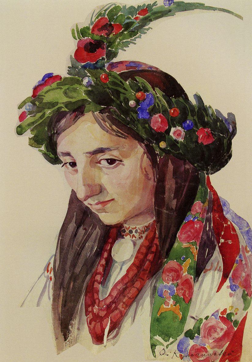 Олена Кульчицька. Молода у весільному вінку (с. Домажир Львівська обл), 1913
