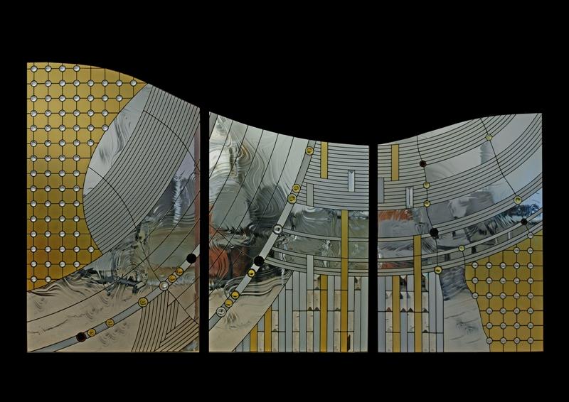 Орест Принада. Декоративна композиція в інтер`єрі із серії «Простір 4», 2004. Скло, метал, вітраж