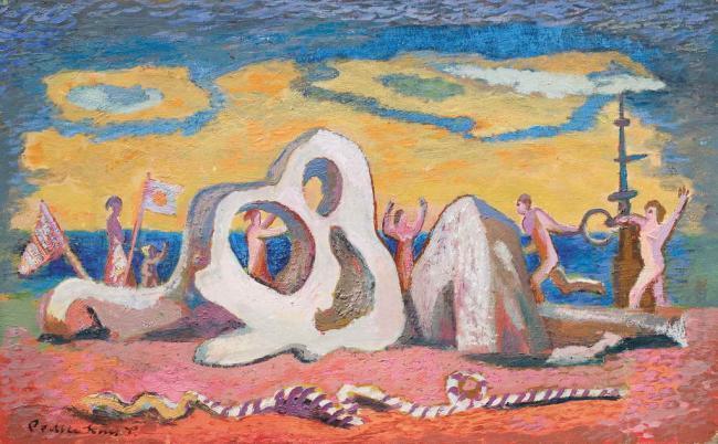 Роман Сельський. Золотий вечір на березі моря, 1960-ті. Картон, олія, 49,5х80