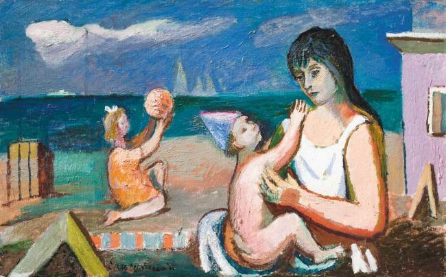Роман Сельський. Мати з дітьми на пляжі, 1980-ті. Картон, олія, 50х80