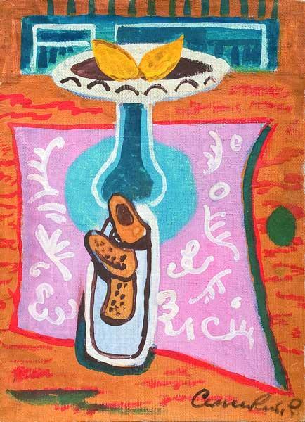 Роман Сельський. Натюрморт з лимонами, 1970ті. Холст на картоні, темпера, 42,5х31