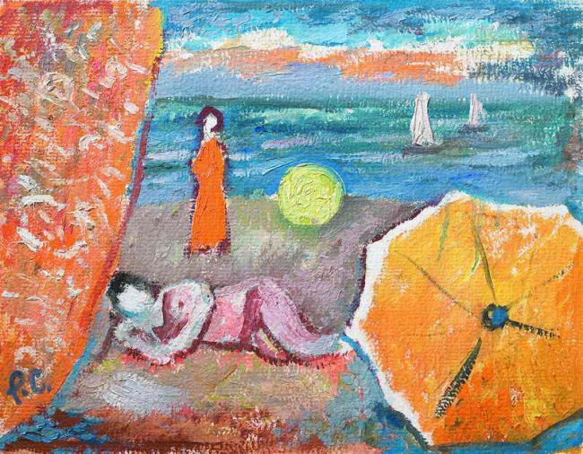 Роман Сельський. Пляж з жовтою парасолею, 1984-1985. Картон, олія, 40х51