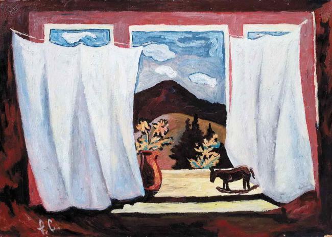 Роман Сельський. За вікном, 1979. Картон, олія, 50х70