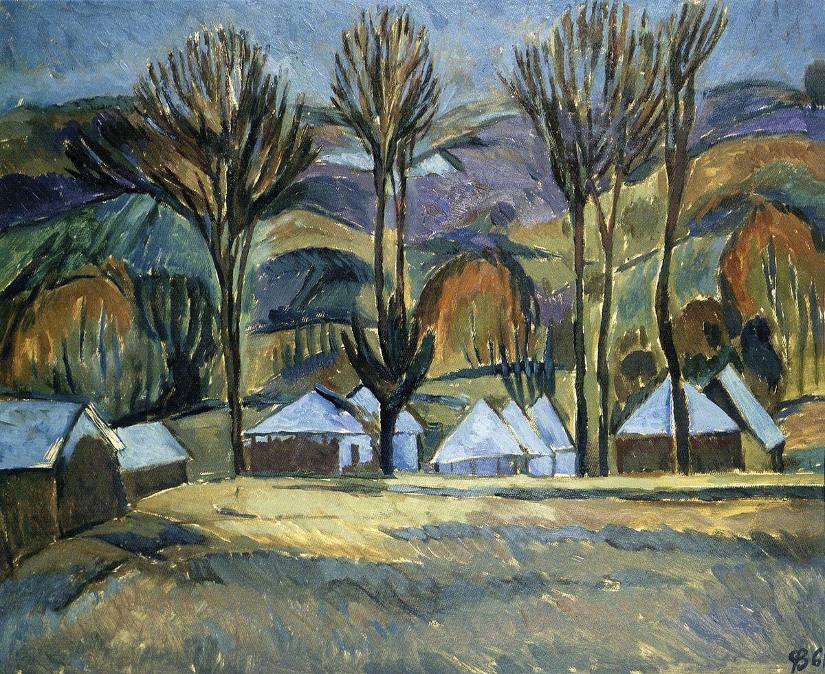 Зеновій Флінта. Пейзаж с хатками, 1961