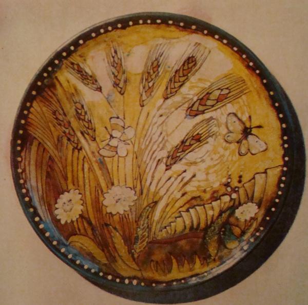 Григорій Кічула.  Декоративна тарілка «Колоски», 1980. Кам'яна маса, солі, емалі