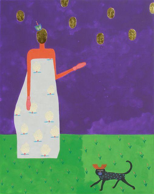 Ярина Мовчан. Голови, 2009. Дошка, левкас, золото, жовткова темпера,50х40.