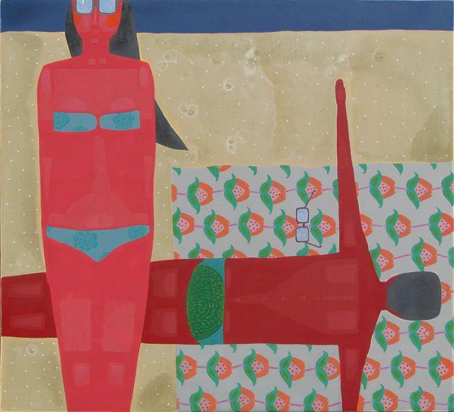 Ярина Мовчан. На відпочинку, 2009. Дошка, левкас, срібло, жовткова темпера, 32х35см.