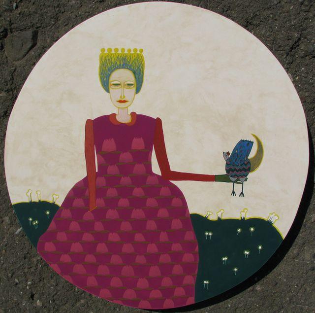 Ярина Мовчан. Жінка з птахом, 2010. Дошка, левкас, золото, жовткова темпера, d-40см.