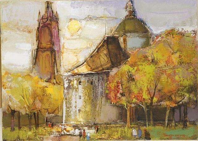 Борис Буряк. Пейзаж з вежею, 2005