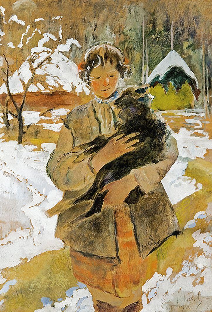 Казимир Сіхульський. Дівчина з ягнятком, 1940