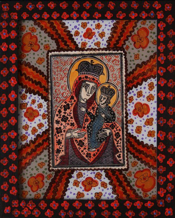 Олександр Бриндіков. Богородиця (папір, ілюмінований дереворит, живопис на шклі)