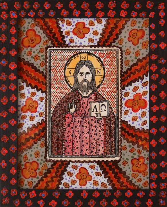 Олександр Бриндіков. Ісус (папір, ілюмінований дереворит, живопис на шклі)