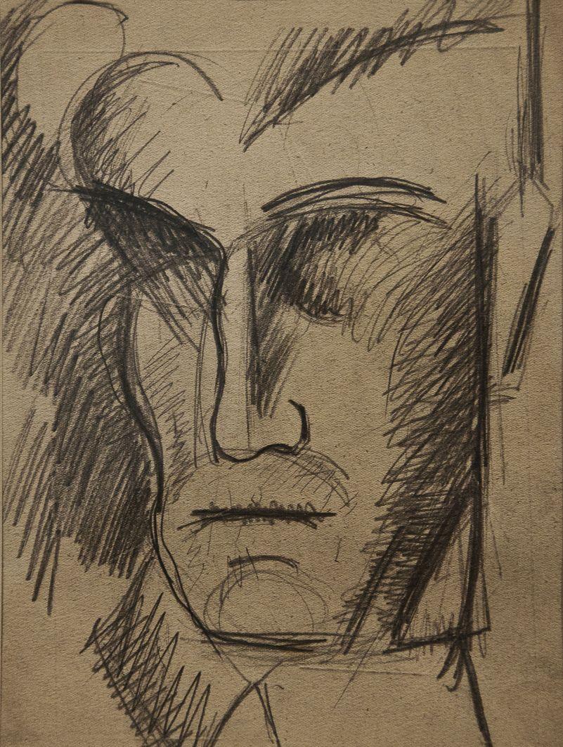 Роман Турин. Голова чоловіка, 1930-і; папір, олівець