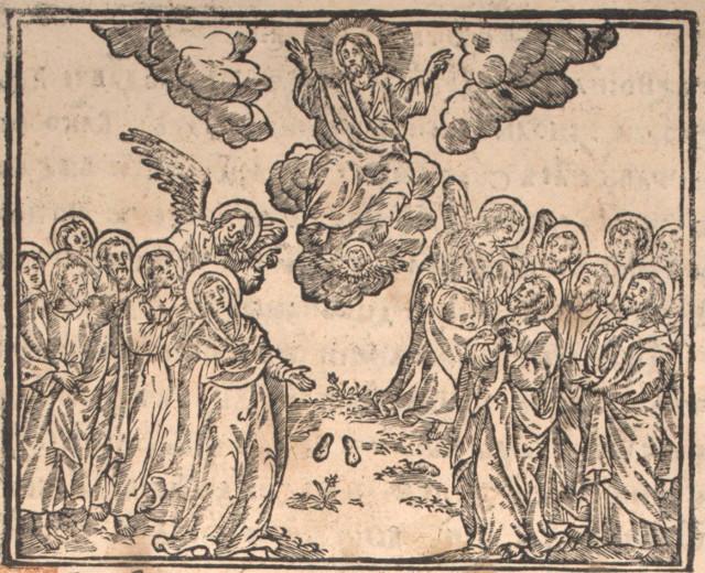 Сцена «Вознесіння Господнє», 1701, Тріодь квітна, друкарня Львівського Ставропігійського Братства