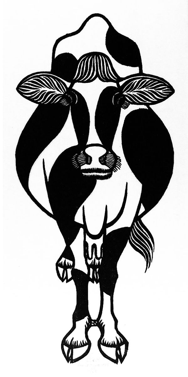 Яків Гніздовський. Корова, 1978, лінорит
