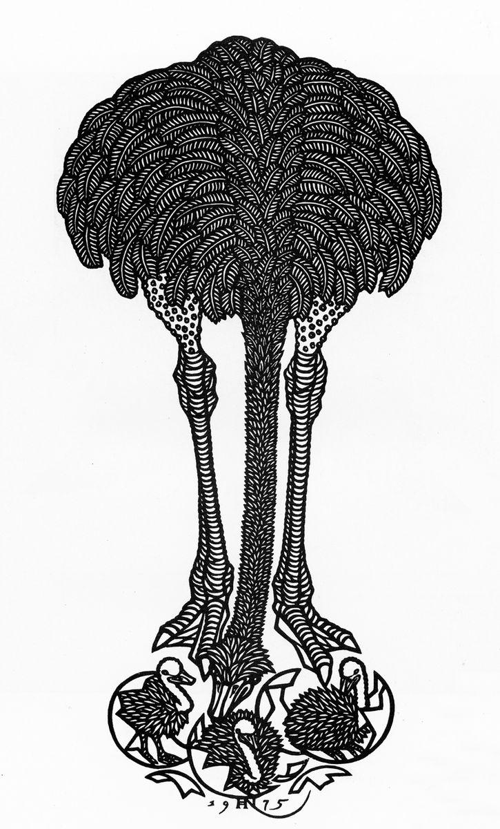 Яків Гніздовський. Страусиха, 1975, дереворит