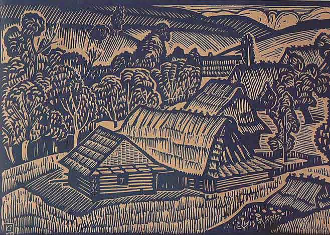 Зеновій Кецало. Бойківський пейзаж, 1972. Лінорит