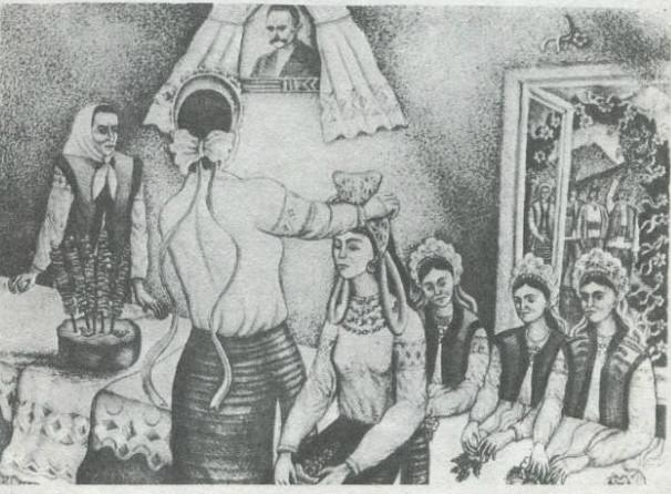 Борис Дроботюк. Весільний обряд. Літографія, 1989
