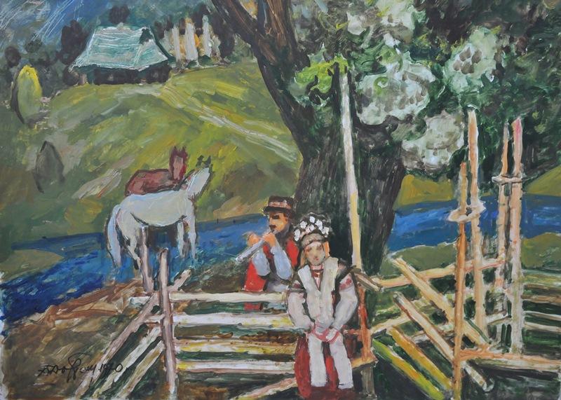 Данило Довбошинський. Гуцули, Дземброня. Картон, олія; 90х60