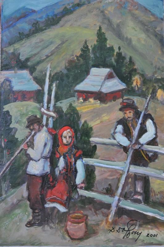 Данило Довбошинський. Гуцули, 2001. Картон, олія; 50х70