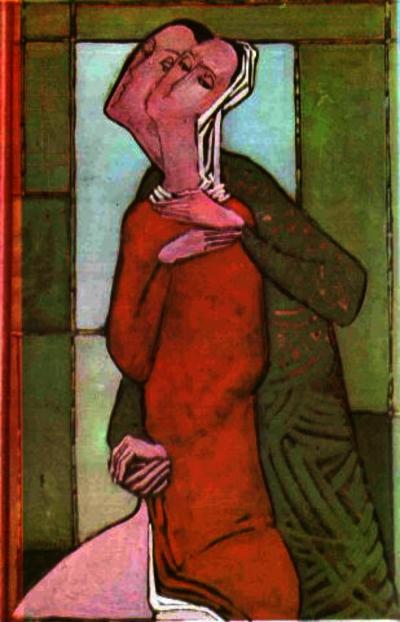 Микола Шимчук. Двоє, 1991. Картон, темпера, емульсія, 80х50