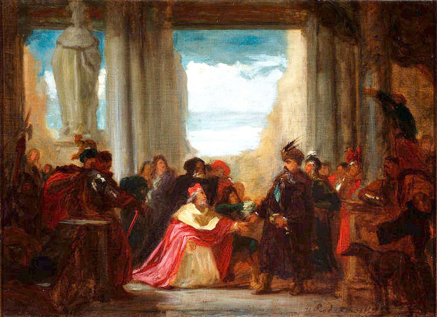 Генрік Родаковський. Ян Вільчек просить Яна Собеського захисту Відня від турків, 1860-ті, ексіз