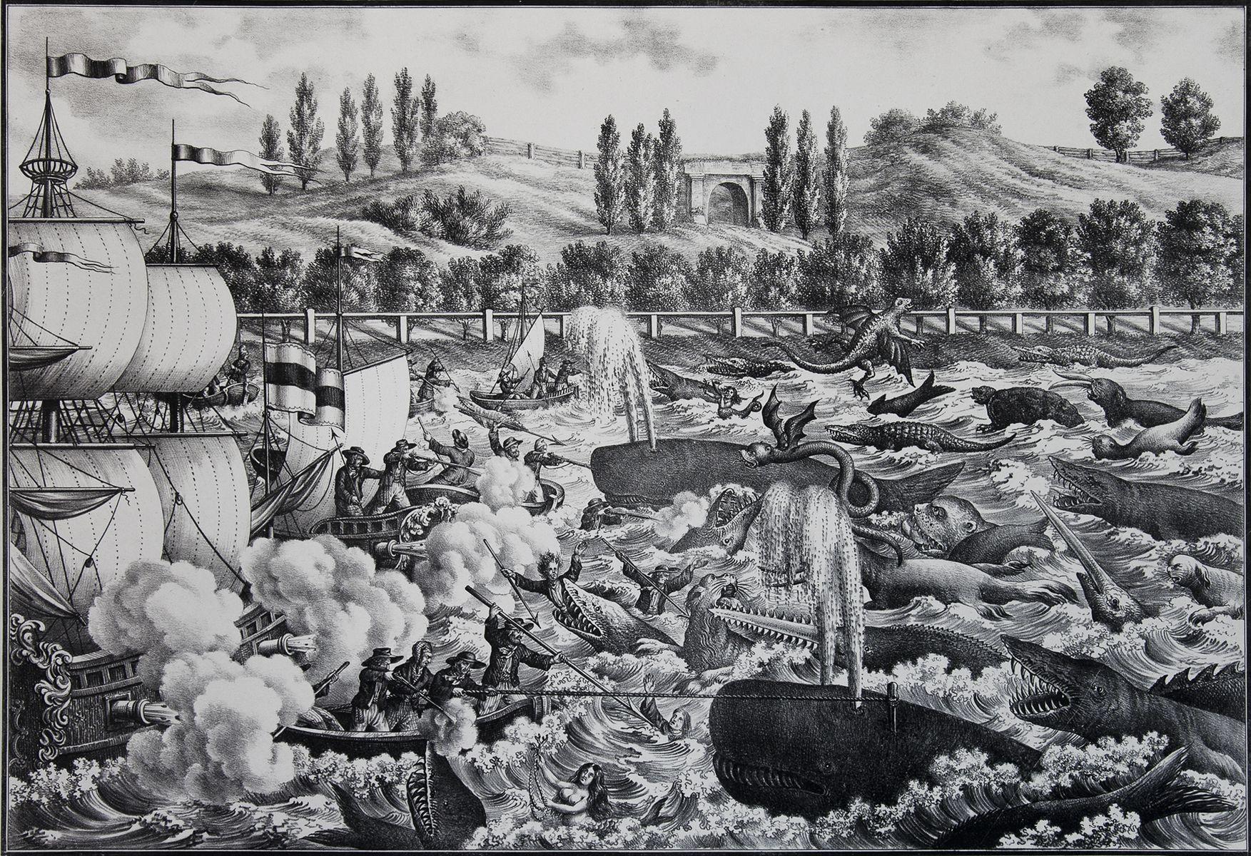 Карл Ауер. Боротьба з морськими потворами літографія до вистави на Пелчинському ставі у Львові 1845,47х64см