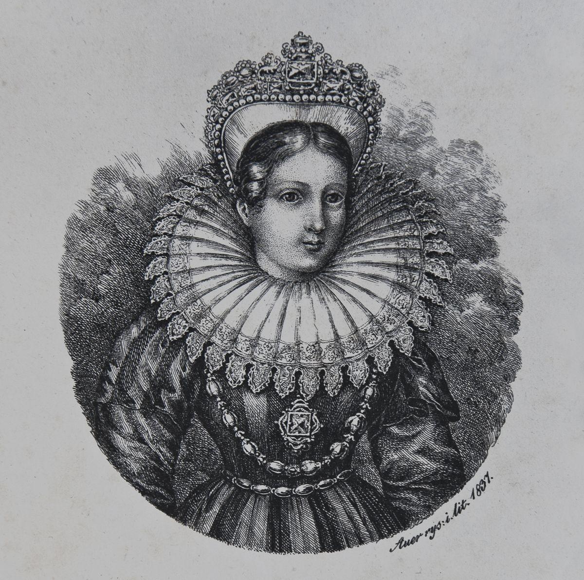 Карл Ауер. Марина Мнішек цариця Москавська 1837 літогр