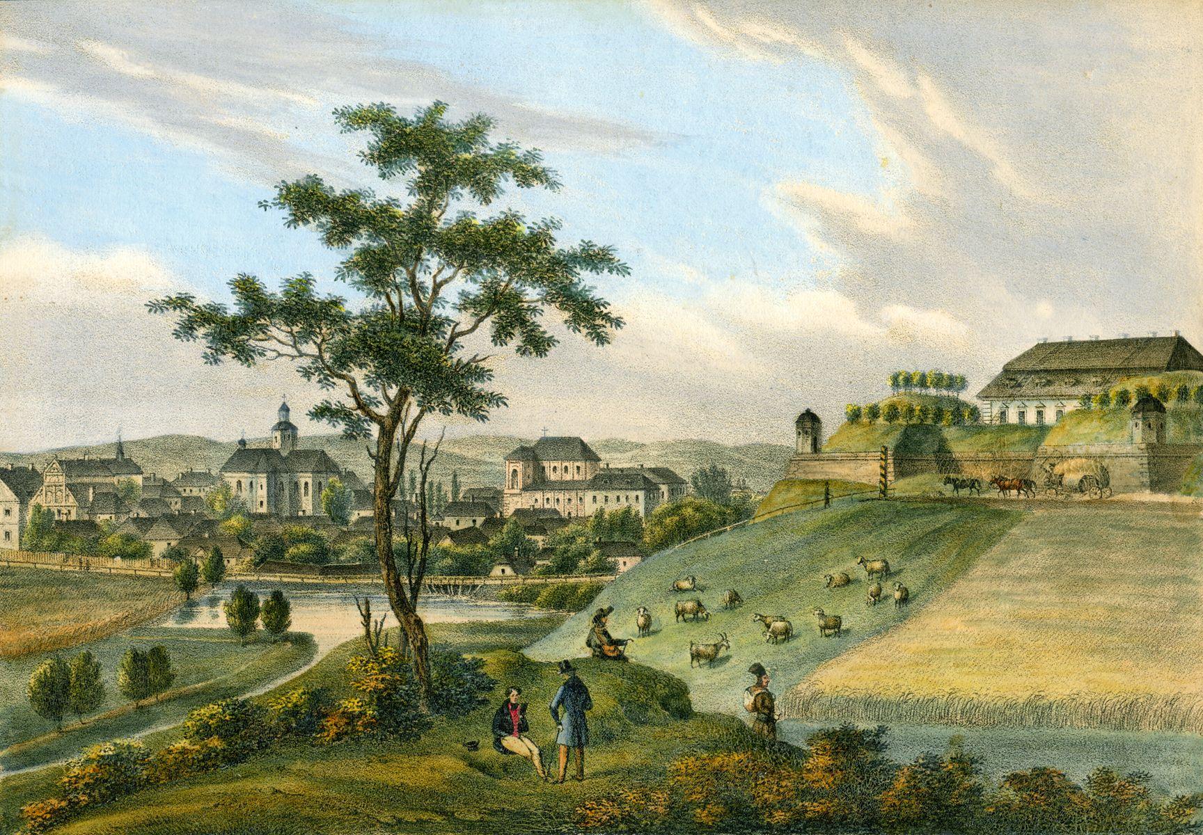 Карл Ауер. Золочів,замок 1838 літогр,акв
