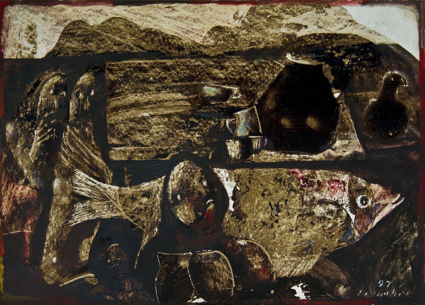 Михайло Безпальків. Велика риба, 2007. Папір, авторська техніка; 21х30