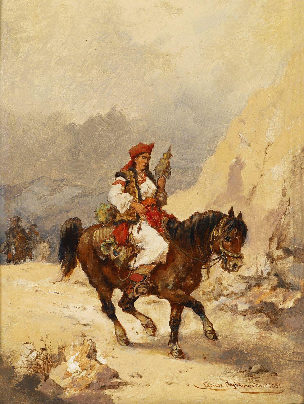 Тадеуш Рибковський. Гуцулка на коні, 1881