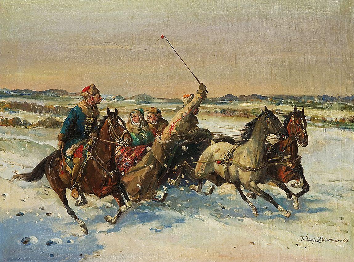 Тадеуш Рибковський. Кокетує з попутником, 1862
