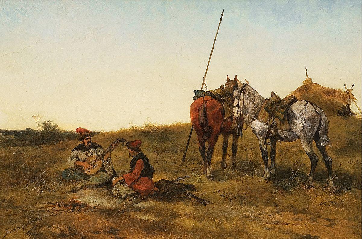 Тадеуш Рибковський. Привал козаків у степу, 1886