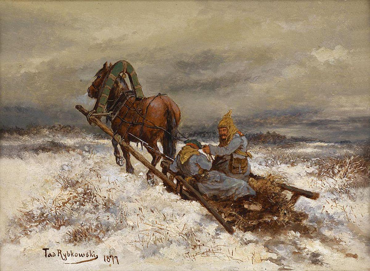 Тадеуш Рибковський. Сцена с солдатами в санях, 1877