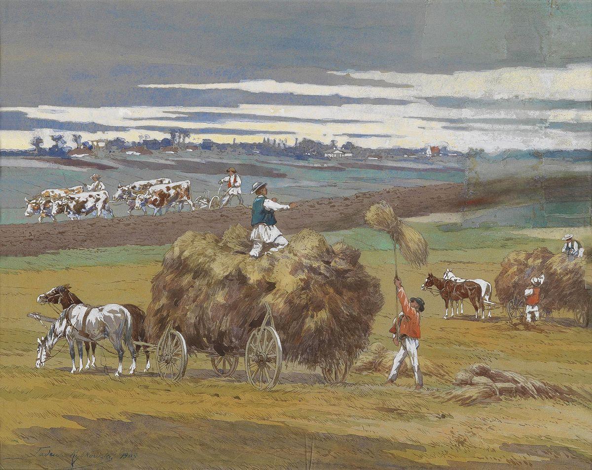 Тадеуш Рибковський. Збирання сіна, 1909