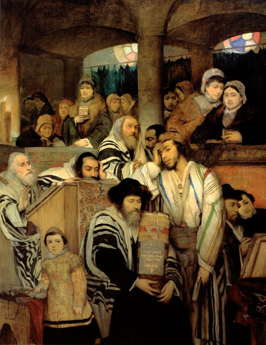 Маурицій Ґотліб. Євреї, що моляться в синагозі Дрогобича, 1878
