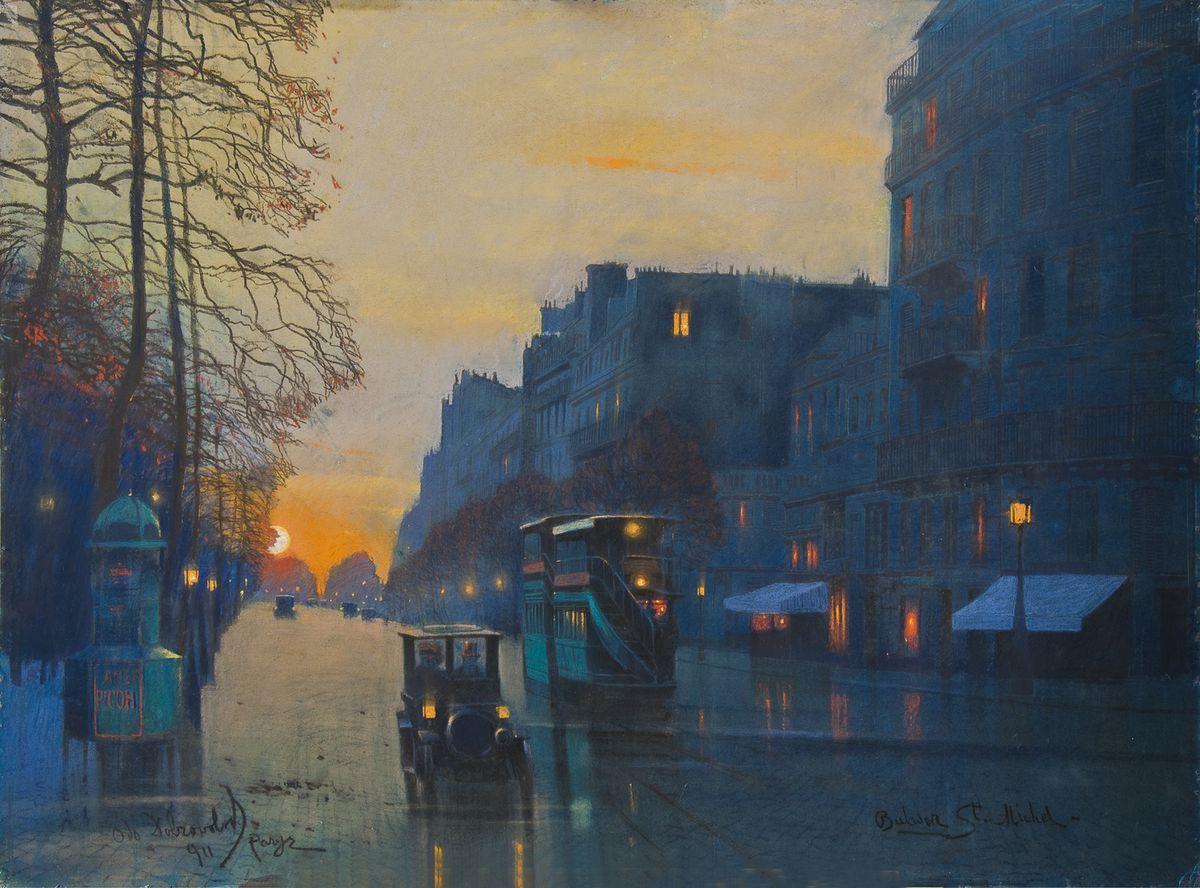 Одо Добровольський. Париж Бульвар Сент Мишель, 1911