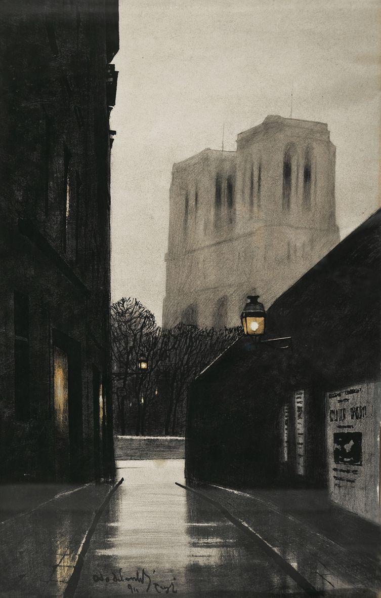 Одо Добровольський. Париж Нотр Дам в ночі. 1911