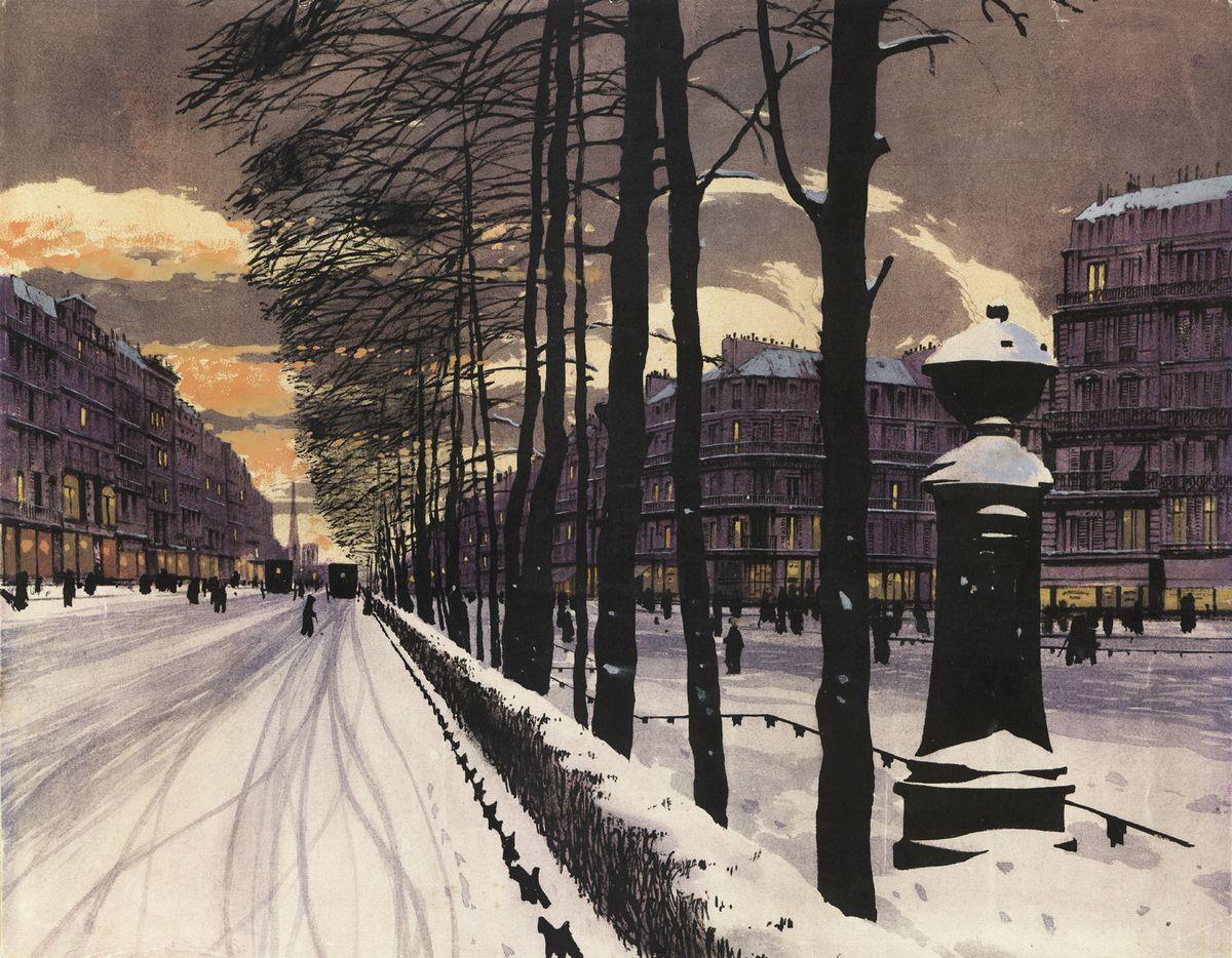 Одо Добровольський. Париж Бульвар взимку, 1908