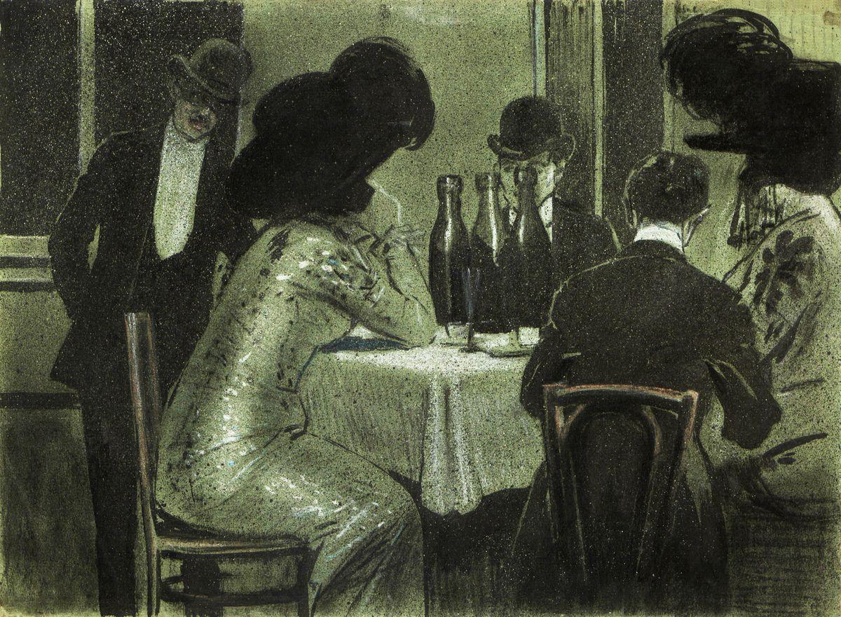 Одо Добровольський. В кафе, 1908