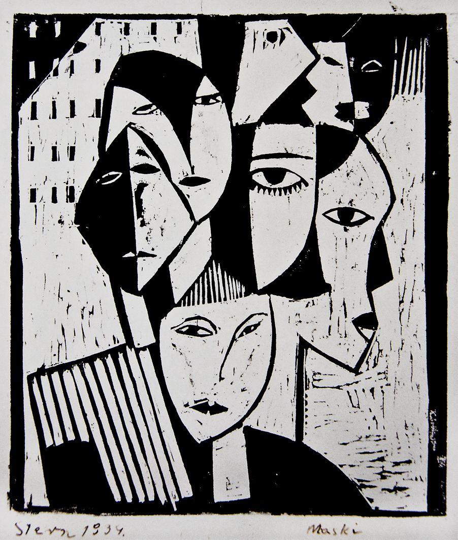 Йонаш Штерн. Маски, 1934, дереворит