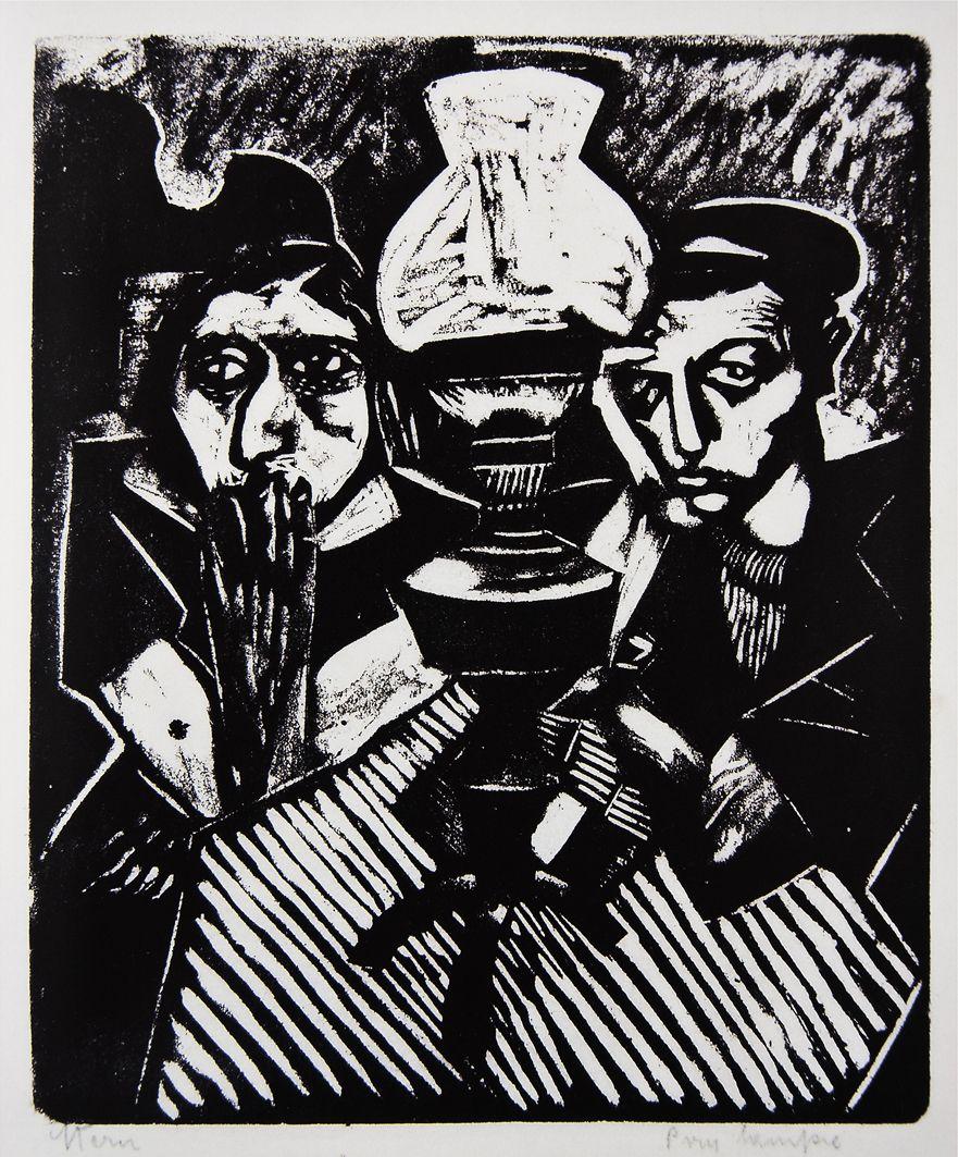 Йонаш Штерн. Під лампою, 1935, дереворит