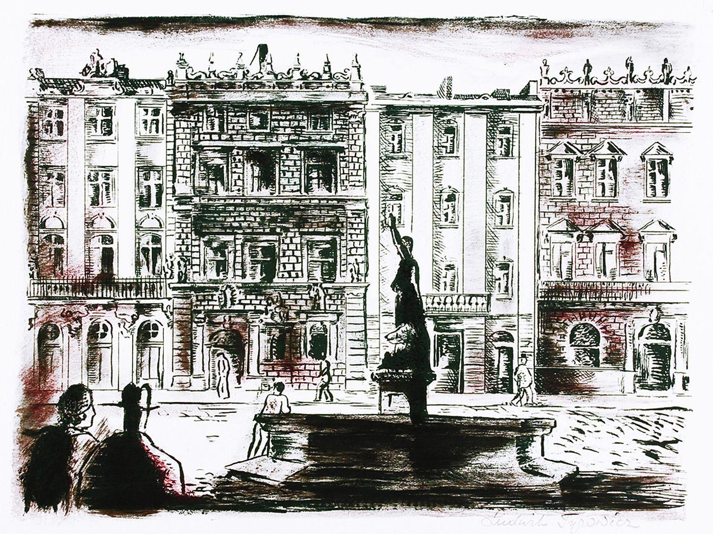 Людвік Тирович. Людвік Тирович. Чудовий Львів, пл. Ринок, 1932, літографія