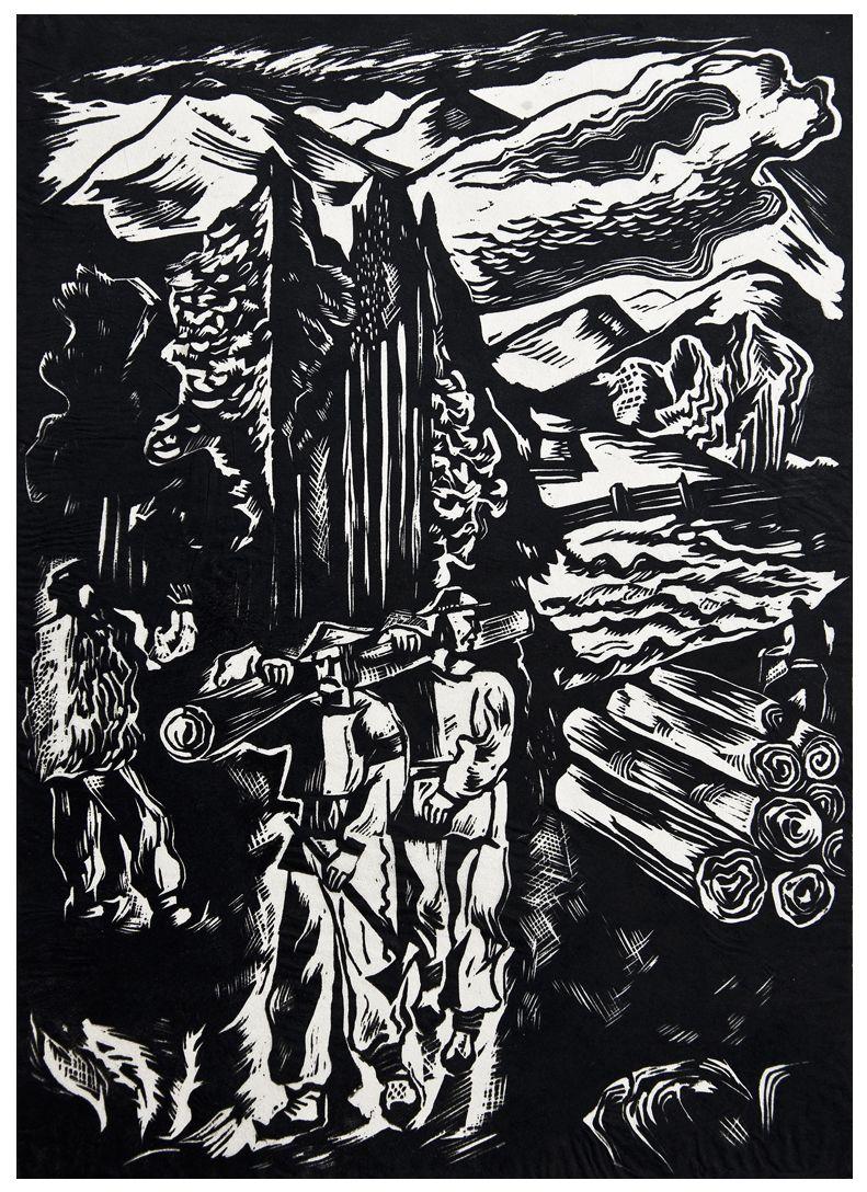 Людвік Тирович. Гуцули лісоруби, 1932, дереворит