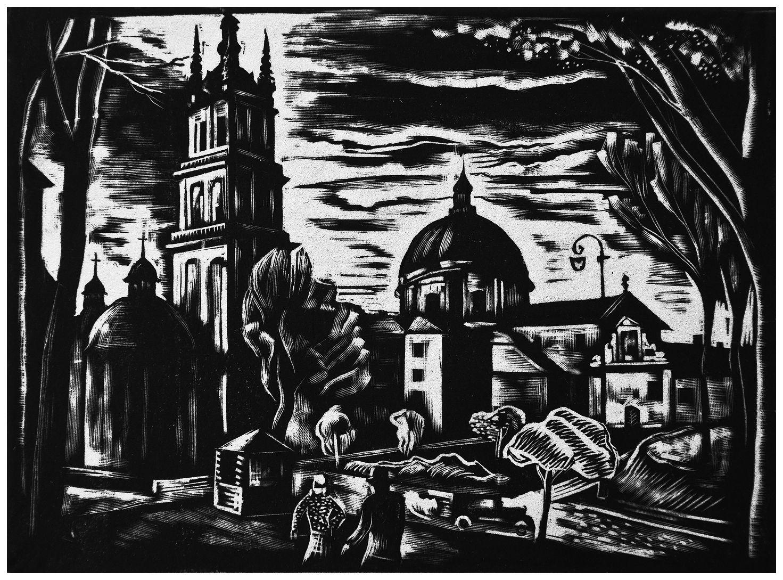 Людвік Тирович. Львів вул. Підвальна, 1938,  дереворит