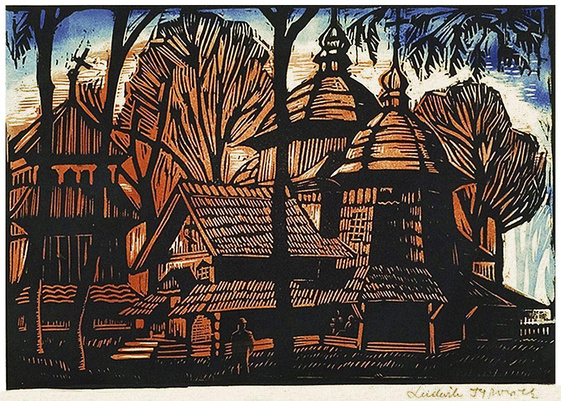 Людвік Тирович. Стара церква лемків, 1920-і, кольоровий дереворит